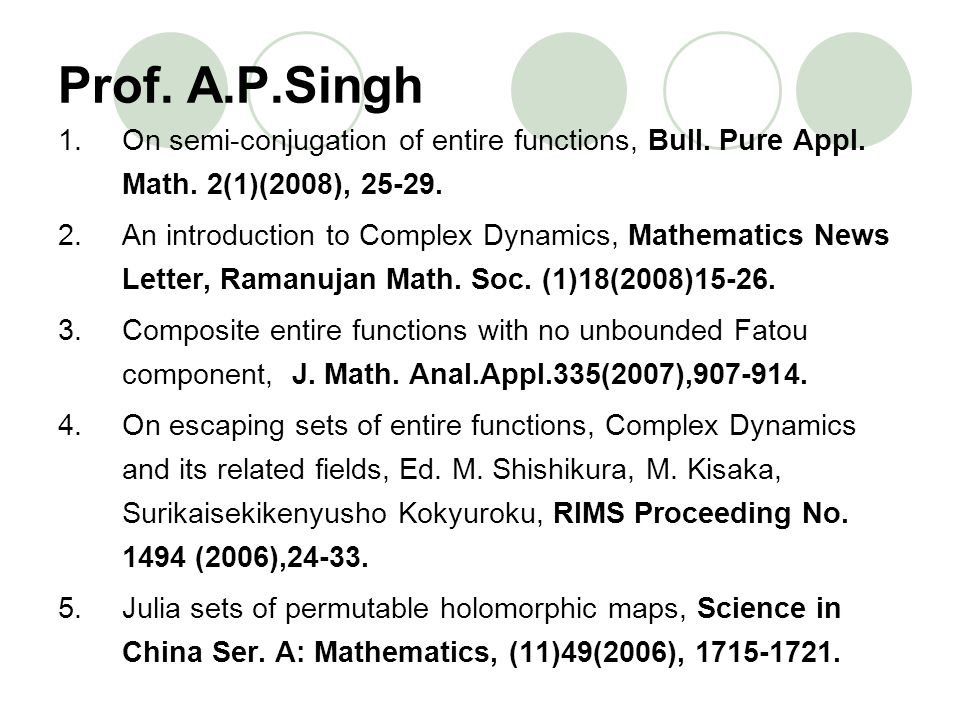 Prof. A.P.Singh 1.On semi-conjugation of entire functions, Bull. Pure Appl. Math. 2(1)(2008), 25-29. 2.An introduction to Complex Dynamics, Mathematic