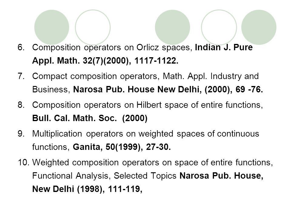 6.Composition operators on Orlicz spaces, Indian J. Pure Appl. Math. 32(7)(2000), 1117-1122. 7.Compact composition operators, Math. Appl. Industry and