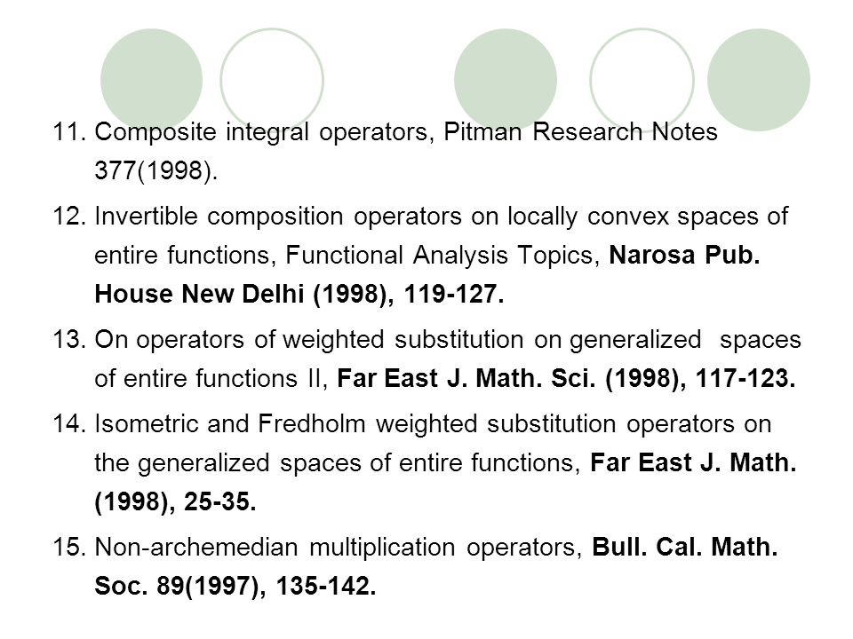 11.Composite integral operators, Pitman Research Notes 377(1998). 12.Invertible composition operators on locally convex spaces of entire functions, Fu