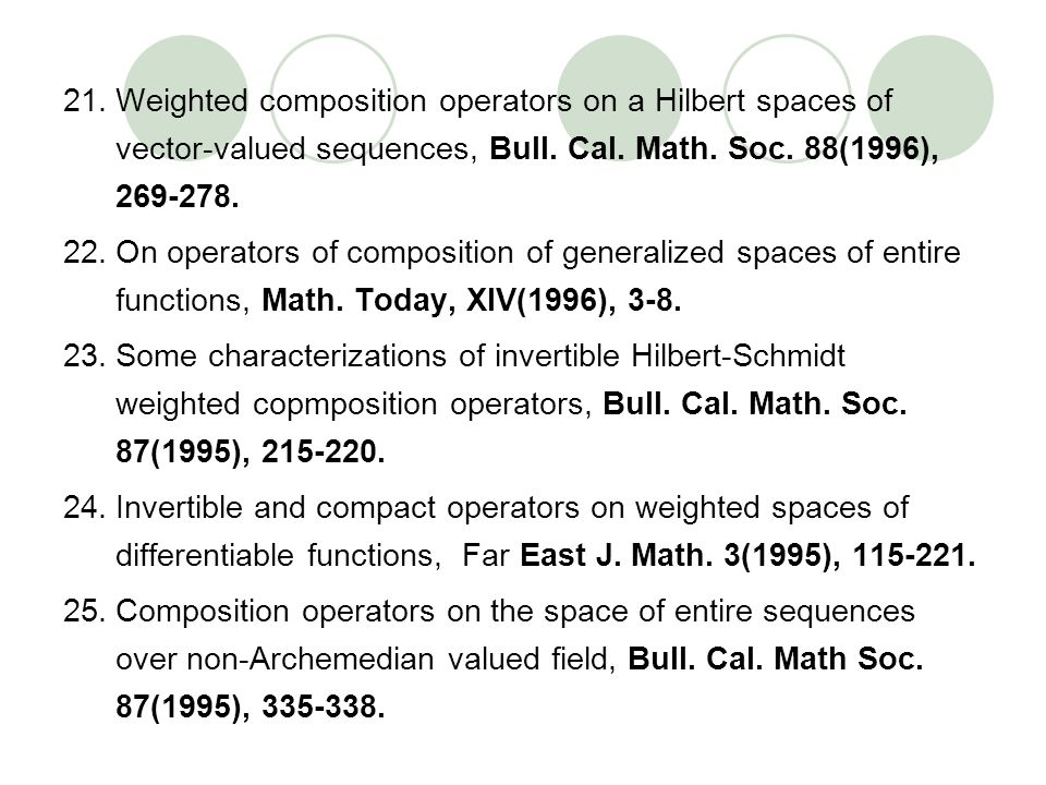 21.Weighted composition operators on a Hilbert spaces of vector-valued sequences, Bull. Cal. Math. Soc. 88(1996), 269-278. 22.On operators of composit