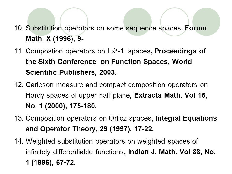 10.Substitution operators on some sequence spaces, Forum Math. X (1996), 9- 11.Compostion operators on L -1 spaces, Proceedings of the Sixth Conferenc