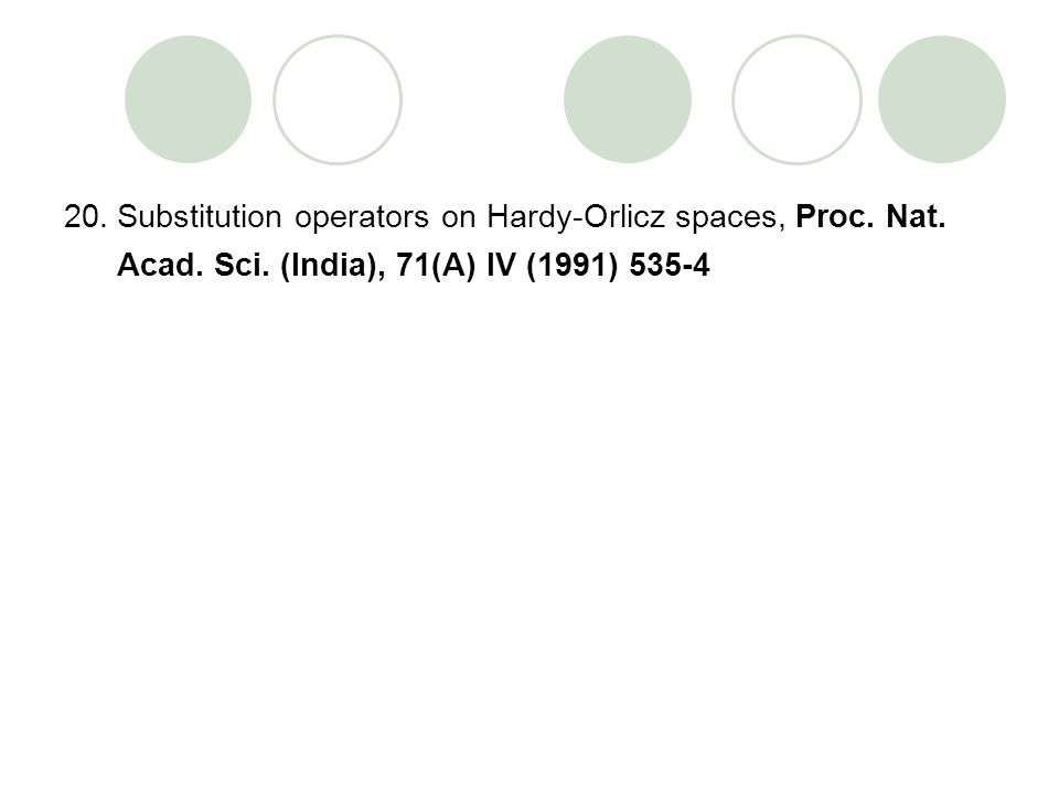 20.Substitution operators on Hardy-Orlicz spaces, Proc. Nat. Acad. Sci. (India), 71(A) IV (1991) 535-4