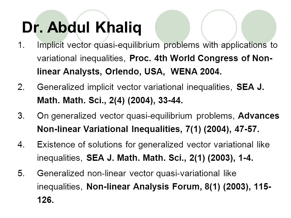 Dr. Abdul Khaliq 1.Implicit vector quasi-equilibrium problems with applications to variational inequalities, Proc. 4th World Congress of Non- linear A