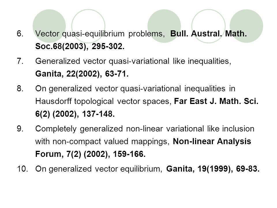 6.Vector quasi-equilibrium problems, Bull. Austral. Math. Soc.68(2003), 295-302. 7.Generalized vector quasi-variational like inequalities, Ganita, 22(