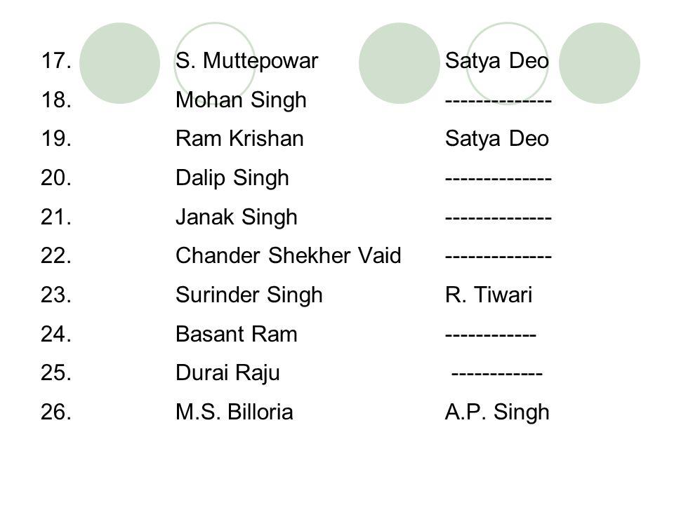 17. S. Muttepowar Satya Deo 18. Mohan Singh -------------- 19. Ram Krishan Satya Deo 20. Dalip Singh -------------- 21. Janak Singh -------------- 22.