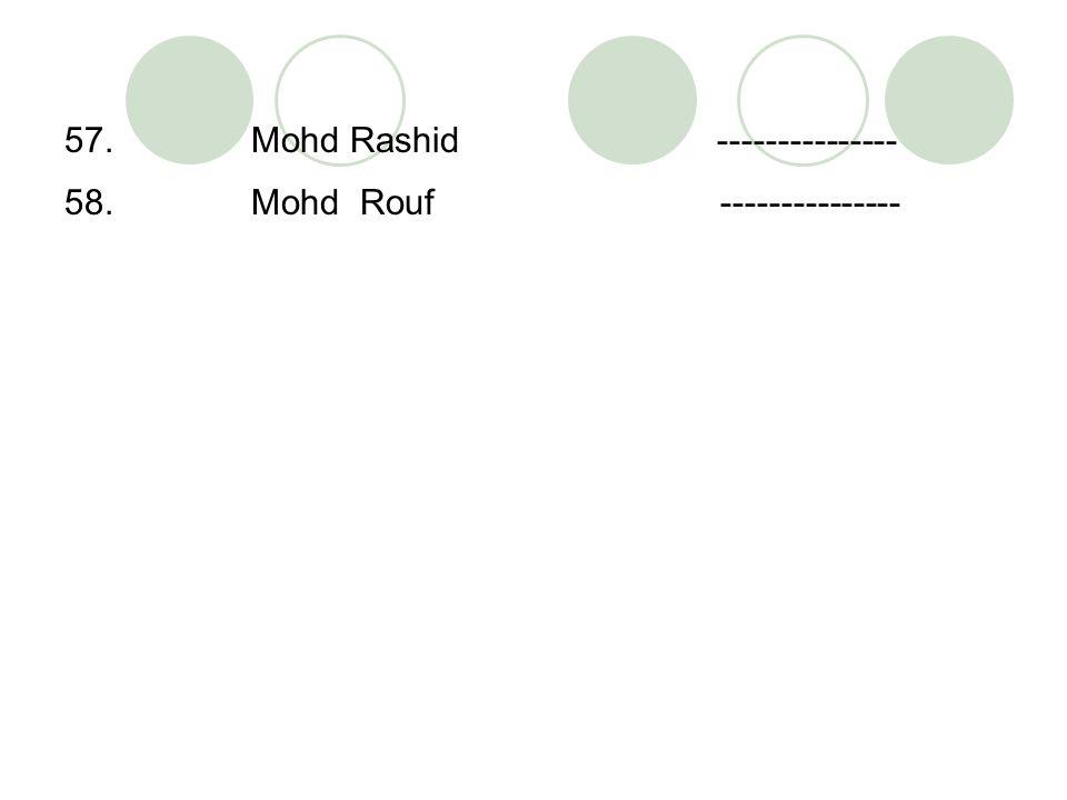 57. Mohd Rashid --------------- 58. Mohd Rouf ---------------
