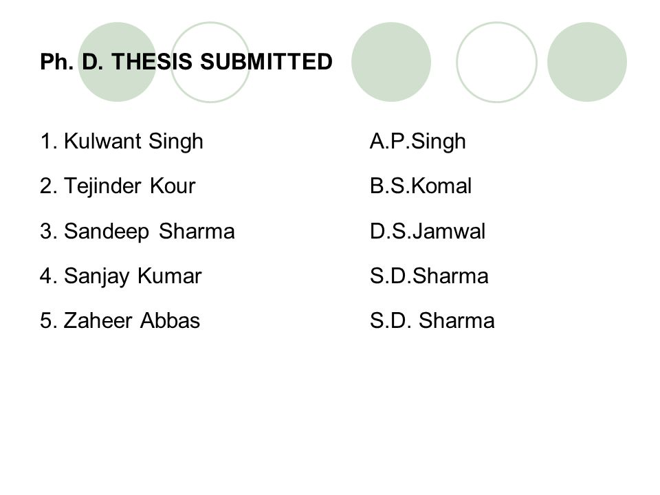 Ph. D. THESIS SUBMITTED 1. Kulwant Singh A.P.Singh 2. Tejinder Kour B.S.Komal 3. Sandeep Sharma D.S.Jamwal 4. Sanjay Kumar S.D.Sharma 5. Zaheer Abbas