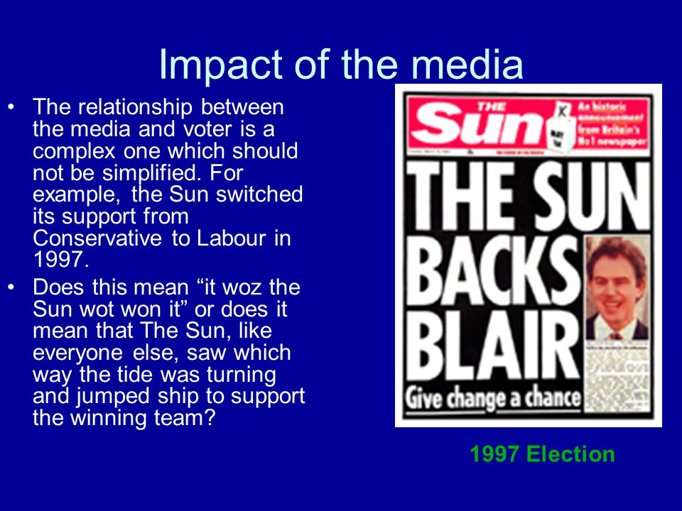 Impact of the media The relationship between the media and voter is a complex one which should not be simplified. For example, the Sun switched its su