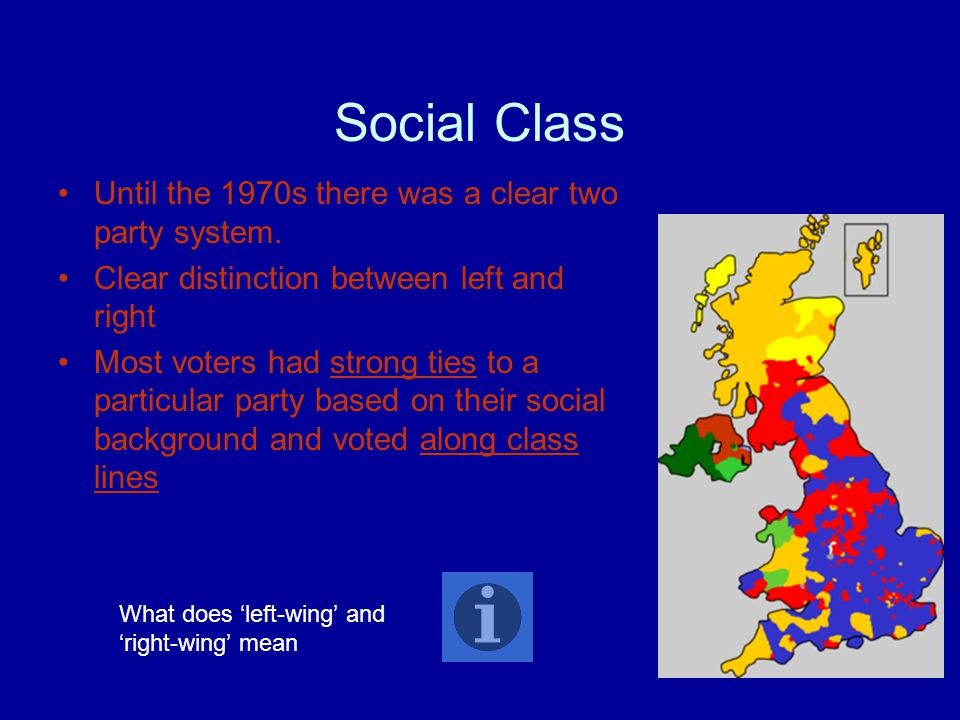 Social Class Until the 1970s there was a clear two party system. Clear distinction between left and right Most voters had strong ties to a particular