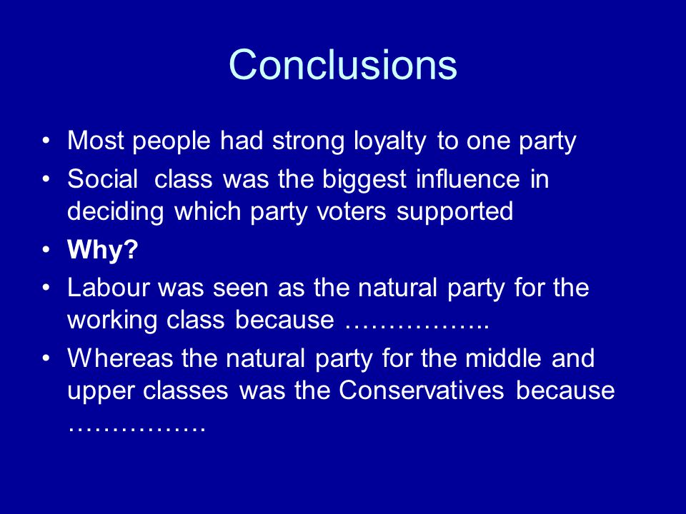 Conclusions Most people had strong loyalty to one party Social class was the biggest influence in deciding which party voters supported Why? Labour wa