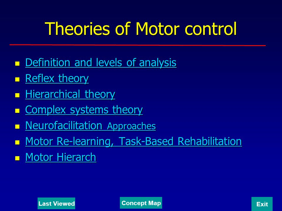 Description The discipline of Motor Control is the study of human movement and the systems that control it under normal and pathological conditions.