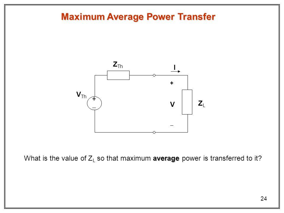 24 Maximum Average Power Transfer ZLZL + V I Z Th V Th + average What is the value of Z L so that maximum average power is transferred to it?
