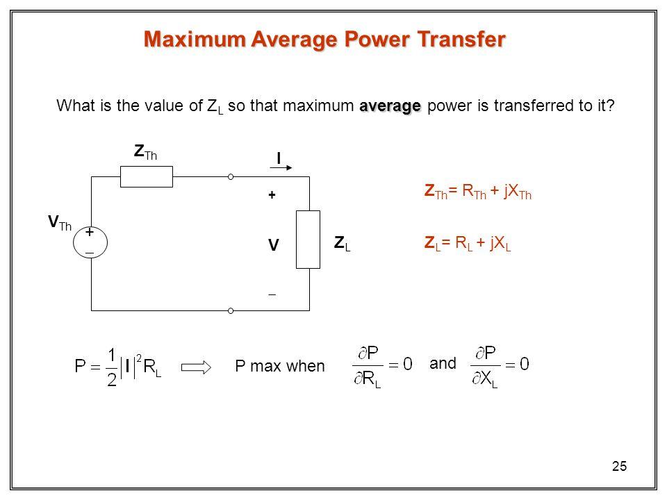 25 Maximum Average Power Transfer ZLZL + V I Z Th V Th + average What is the value of Z L so that maximum average power is transferred to it.