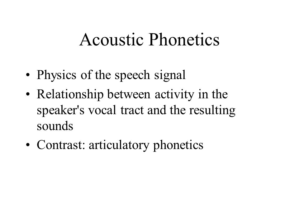 Voice Onset Time (VOT) Refers to the time of voicing in relation to the consonant articulation / release burst