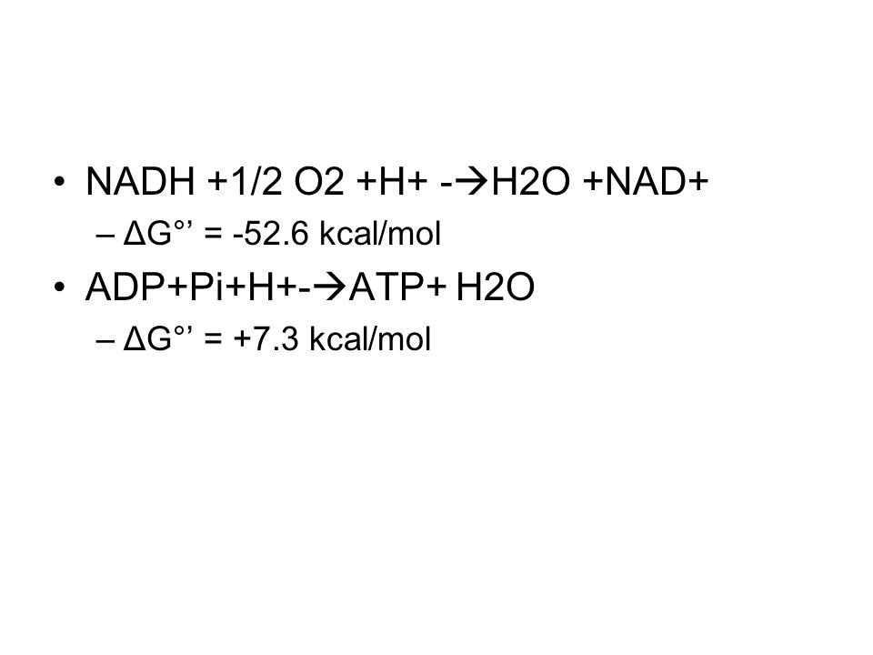 NADH +1/2 O2 +H+ - H2O +NAD+ –ΔG° = -52.6 kcal/mol ADP+Pi+H+- ATP+ H2O –ΔG° = +7.3 kcal/mol