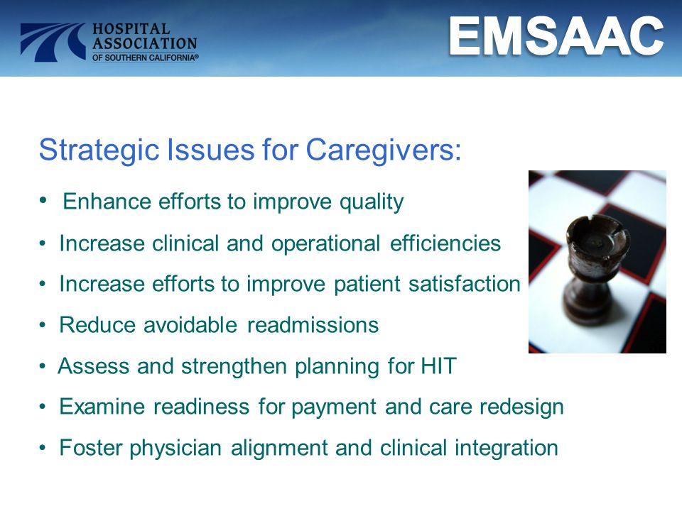 Strategic Issues for Caregivers: Enhance efforts to improve quality Increase clinical and operational efficiencies Increase efforts to improve patient