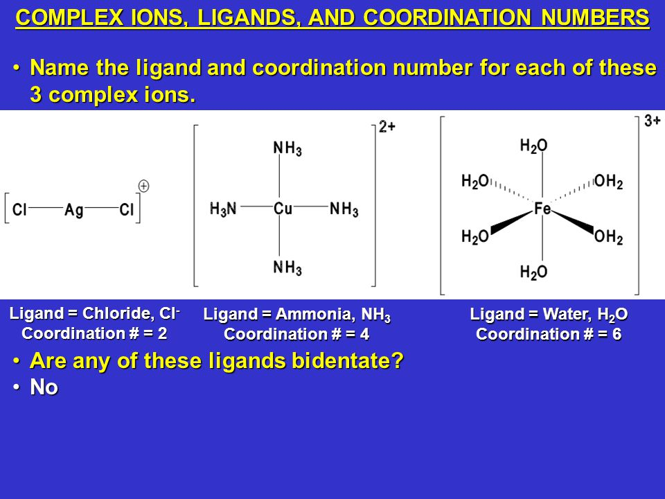 COMPLEX IONS, LIGANDS, AND COORDINATION NUMBERS Name the ligand and coordination number for each of these 3 complex ions.Name the ligand and coordination number for each of these 3 complex ions.