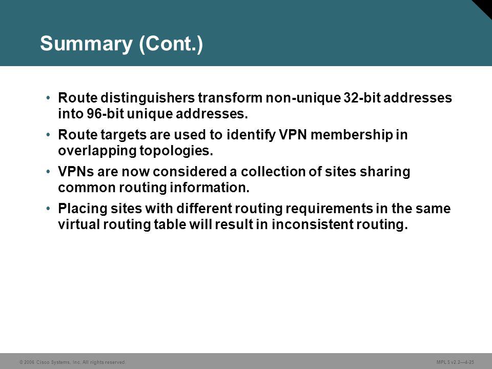 © 2006 Cisco Systems, Inc. All rights reserved. MPLS v2.24-25 Summary (Cont.) Route distinguishers transform non-unique 32-bit addresses into 96-bit u