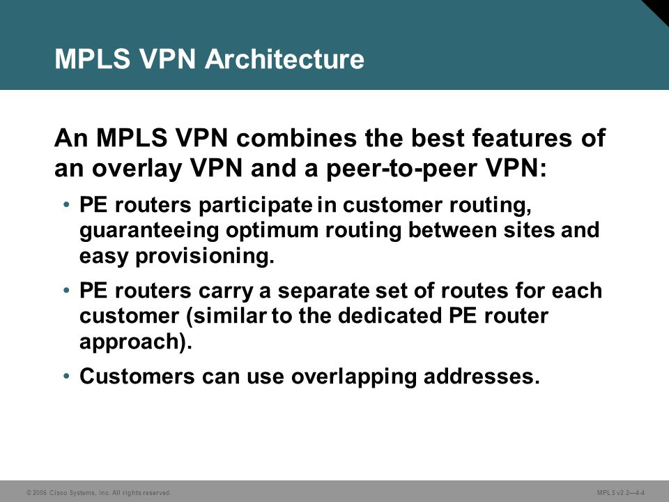 © 2006 Cisco Systems, Inc. All rights reserved. MPLS v2.24-4 MPLS VPN Architecture An MPLS VPN combines the best features of an overlay VPN and a peer