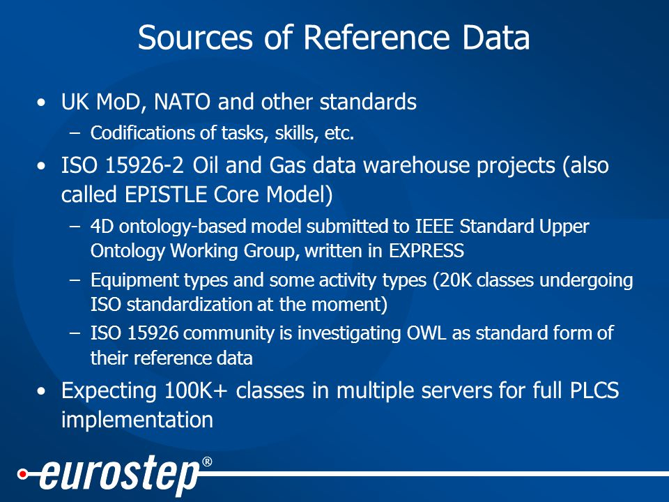® Sources of Reference Data UK MoD, NATO and other standards –Codifications of tasks, skills, etc.