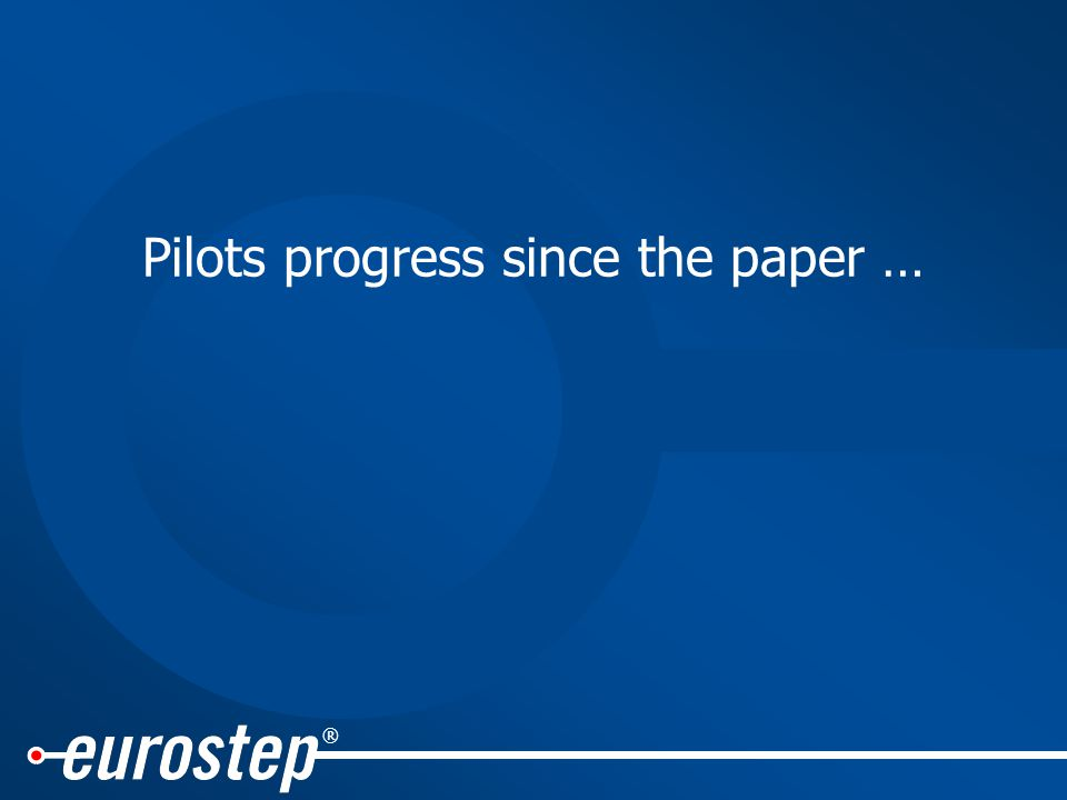 ® Pilots progress since the paper …
