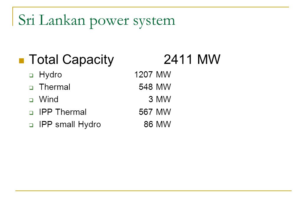 Sri Lankan power system Total Capacity 2411 MW Hydro 1207 MW Thermal 548 MW Wind 3 MW IPP Thermal 567 MW IPP small Hydro 86 MW