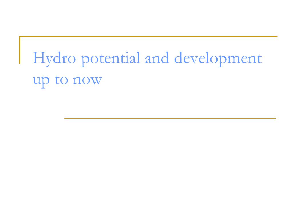 Hydro potential and development up to now