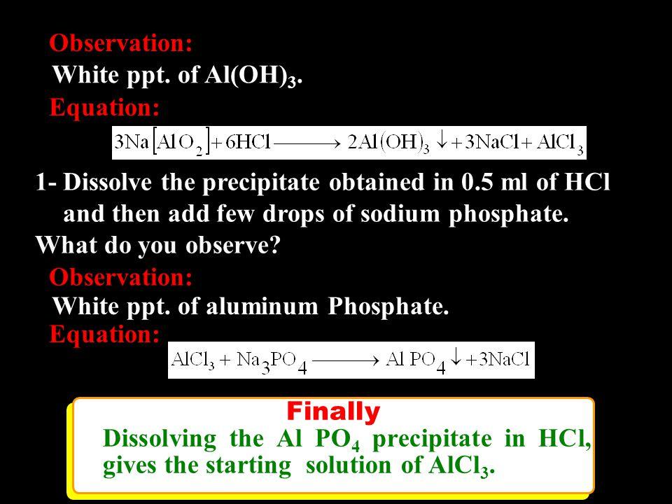 Reagents Used: Exp.1 Exp.2 HClChloride Salt Exp.3 CoCl 2 Blue ppt.