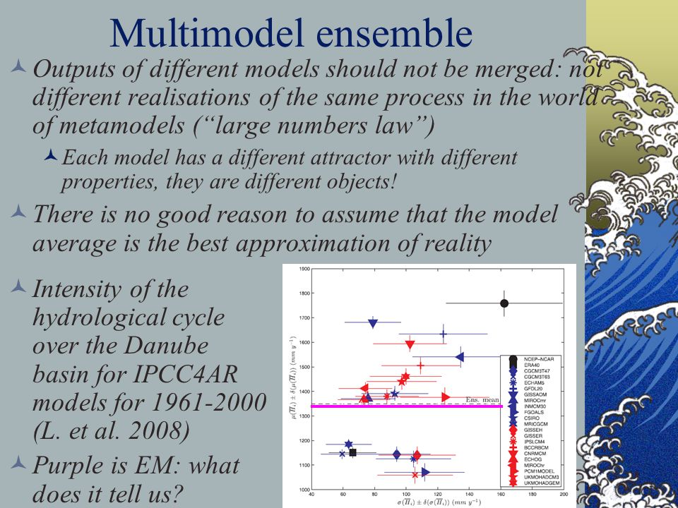 24 Multimodel ensemble Outputs of different models should not be merged: not different realisations of the same process in the world of metamodels (large numbers law) Each model has a different attractor with different properties, they are different objects.