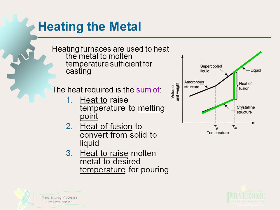 Manufacturing Processes Prof Simin Nasseri Heating the Metal Heating furnaces are used to heat the metal to molten temperature sufficient for casting The heat required is the sum of: 1.Heat to raise temperature to melting point 2.Heat of fusion to convert from solid to liquid 3.Heat to raise molten metal to desired temperature for pouring