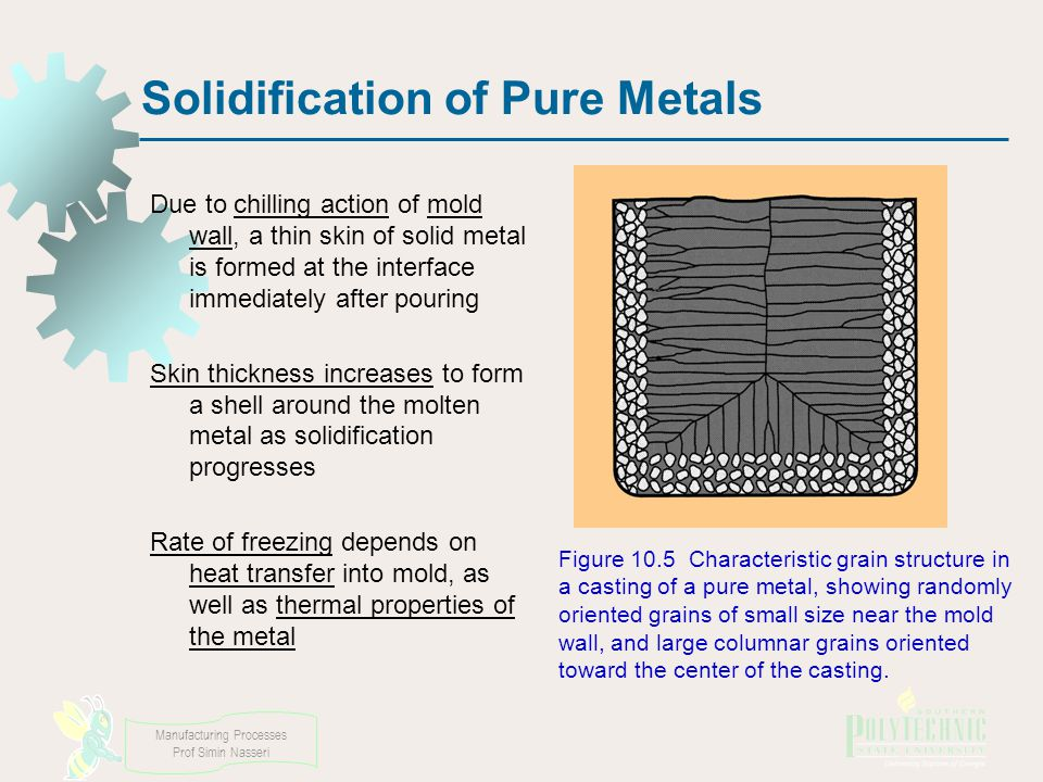Manufacturing Processes Prof Simin Nasseri Solidification of Pure Metals Due to chilling action of mold wall, a thin skin of solid metal is formed at the interface immediately after pouring Skin thickness increases to form a shell around the molten metal as solidification progresses Rate of freezing depends on heat transfer into mold, as well as thermal properties of the metal Figure 10.5 Characteristic grain structure in a casting of a pure metal, showing randomly oriented grains of small size near the mold wall, and large columnar grains oriented toward the center of the casting.