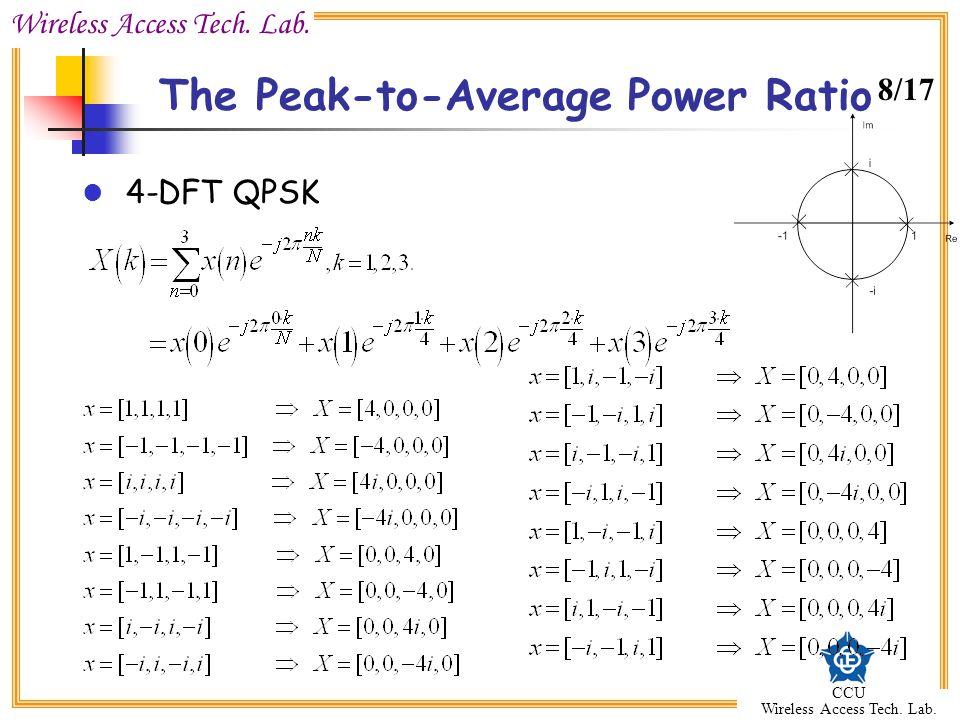 Wireless Access Tech. Lab. CCU Wireless Access Tech. Lab. The Peak-to-Average Power Ratio 4-DFT QPSK 8/17