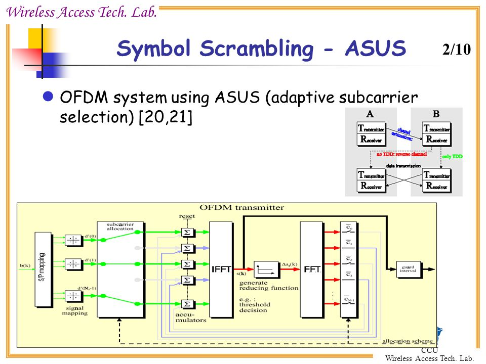 Wireless Access Tech. Lab. CCU Wireless Access Tech. Lab. Symbol Scrambling - ASUS OFDM system using ASUS (adaptive subcarrier selection) [20,21] 2/10