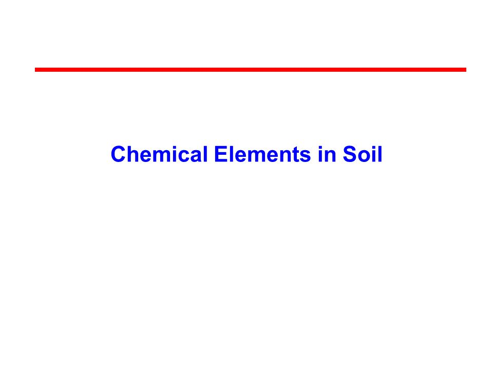 Chemical Elements in Soil