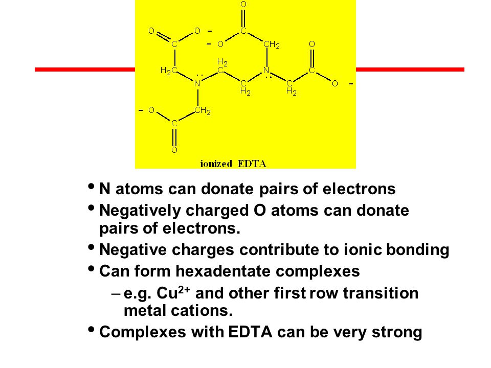 N atoms can donate pairs of electrons Negatively charged O atoms can donate pairs of electrons.