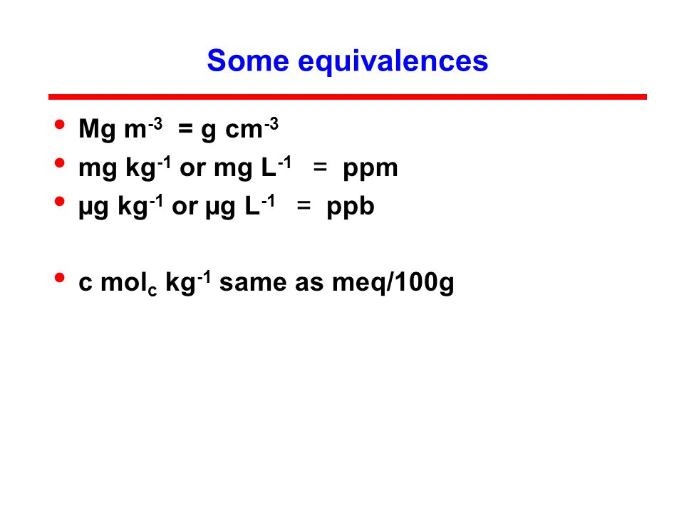 Some equivalences Mg m -3 = g cm -3 mg kg -1 or mg L -1 = ppm µg kg -1 or µg L -1 = ppb c mol c kg -1 same as meq/100g