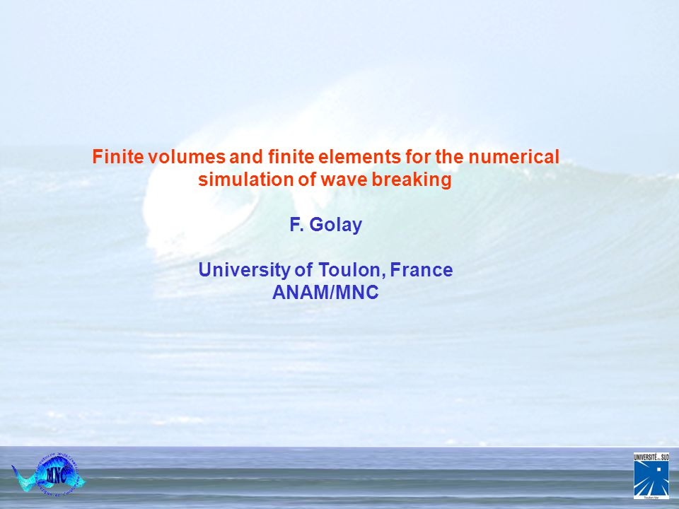 Numerical Simulation of Complex and Multiphase Flows 18 th – 22 nd April 20005 Porquerolles 1/24 Finite volumes and finite elements for the numerical simulation of wave breaking F.
