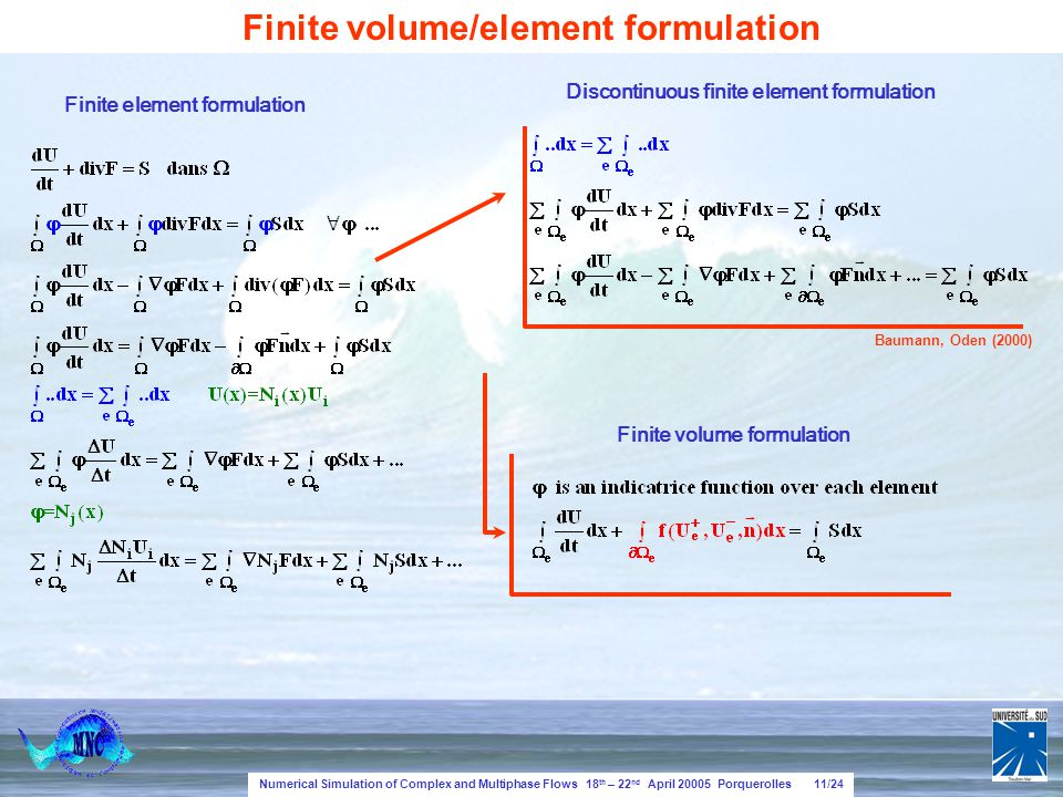 Numerical Simulation of Complex and Multiphase Flows 18 th – 22 nd April 20005 Porquerolles 11/24 Finite volume/element formulation Finite element formulation Finite volume formulation Discontinuous finite element formulation Baumann, Oden (2000)