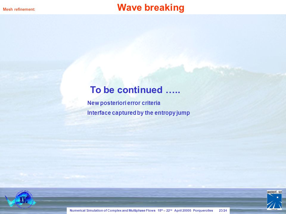 Numerical Simulation of Complex and Multiphase Flows 18 th – 22 nd April 20005 Porquerolles 23/24 Mesh refinement: Wave breaking To be continued …..