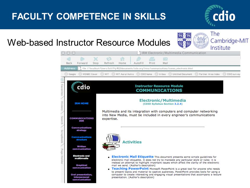 FACULTY COMPETENCE IN SKILLS Web-based Instructor Resource Modules