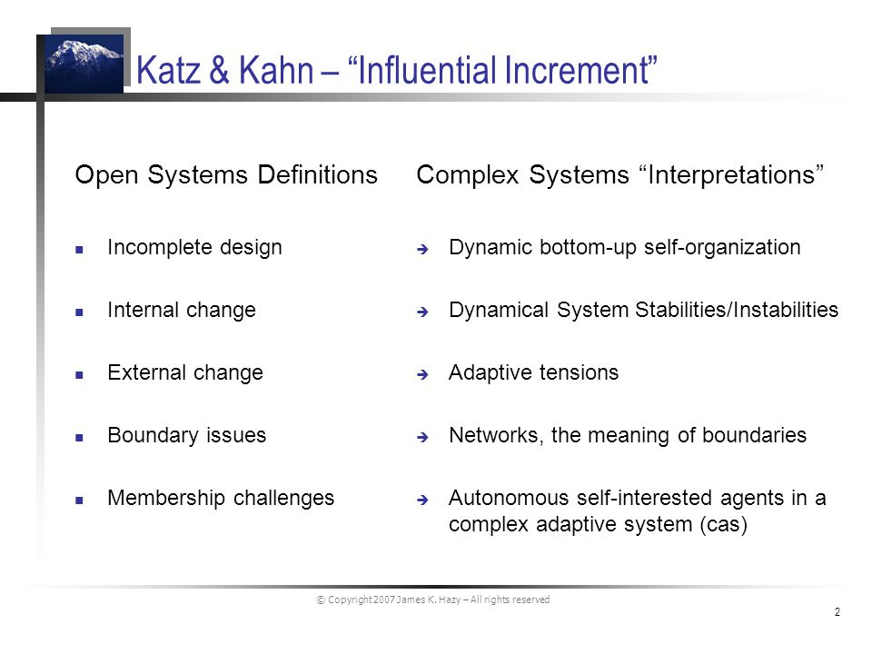 © Copyright 2007 James K. Hazy – All rights reserved 2 Katz & Kahn – Influential Increment Open Systems Definitions Incomplete design Internal change