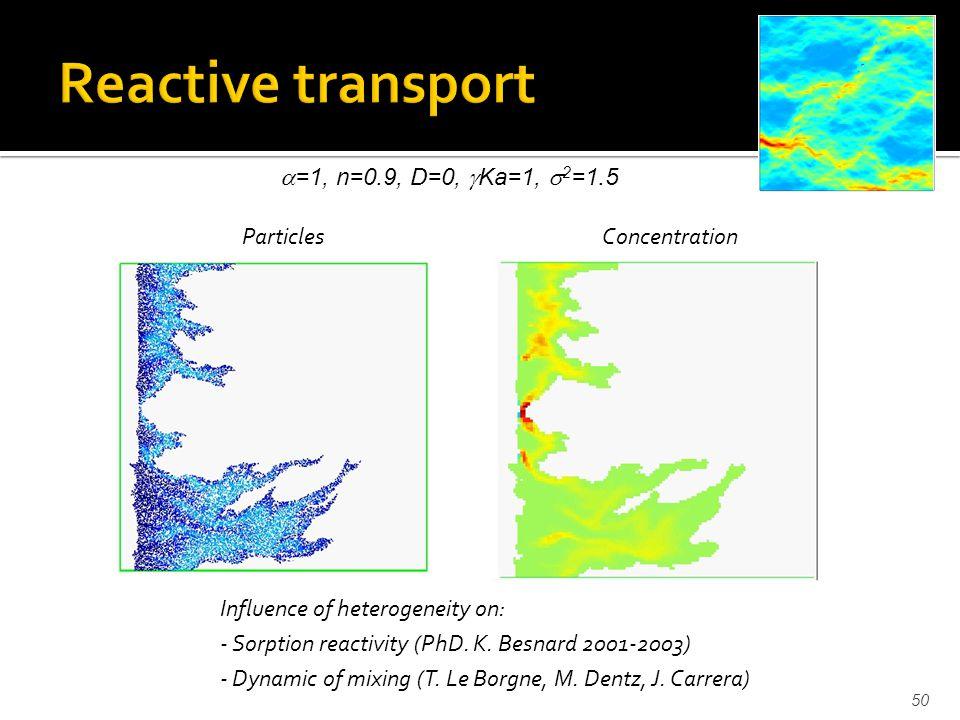 50 =1, n=0.9, D=0, Ka=1, 2 =1.5 Influence of heterogeneity on: - Sorption reactivity (PhD.