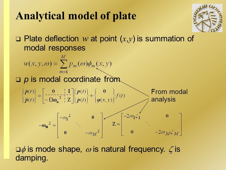 Analytical model of plate Plate deflection w at point ( x, y ) is summation of modal responses p is modal coordinate from is mode shape, is natural fr
