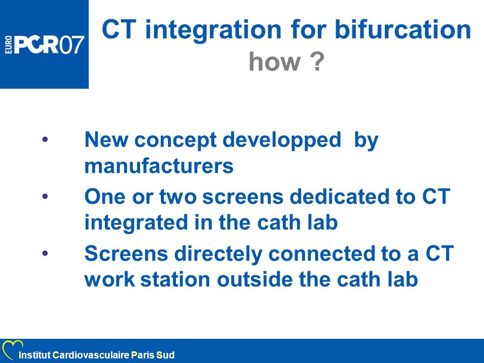 CT integration for bifurcation how .