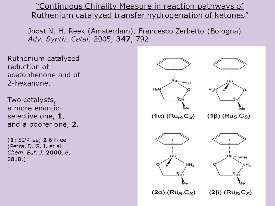 Continuous Chirality Measure in reaction pathways of Ruthenium catalyzed transfer hydrogenation of ketones Joost N.