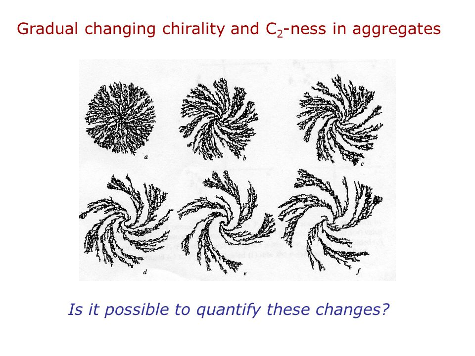 Gradual changing chirality and C 2 -ness in aggregates Is it possible to quantify these changes