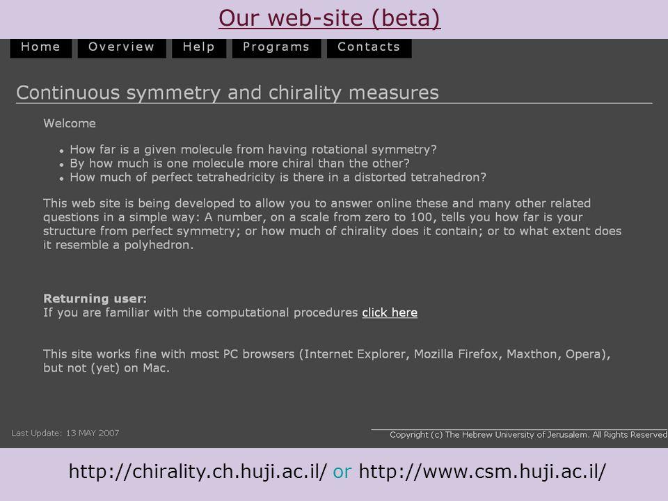 Our web-site (beta) http://chirality.ch.huji.ac.il/ or http://www.csm.huji.ac.il/