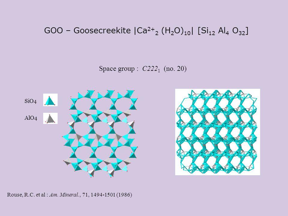 GOO – Goosecreekite |Ca 2+ 2 (H 2 O) 10 | [Si 12 Al 4 O 32 ] Rouse, R.C. et al : Am. Mineral., 71, 1494-1501 (1986) Space group : C222 1 (no. 20) AlO4