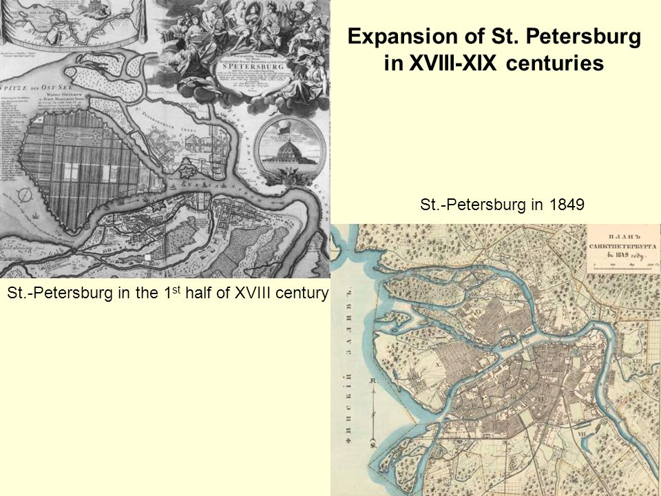 St.-Petersburg in 1849 St.-Petersburg in the 1 st half of XVIII century Expansion of St.