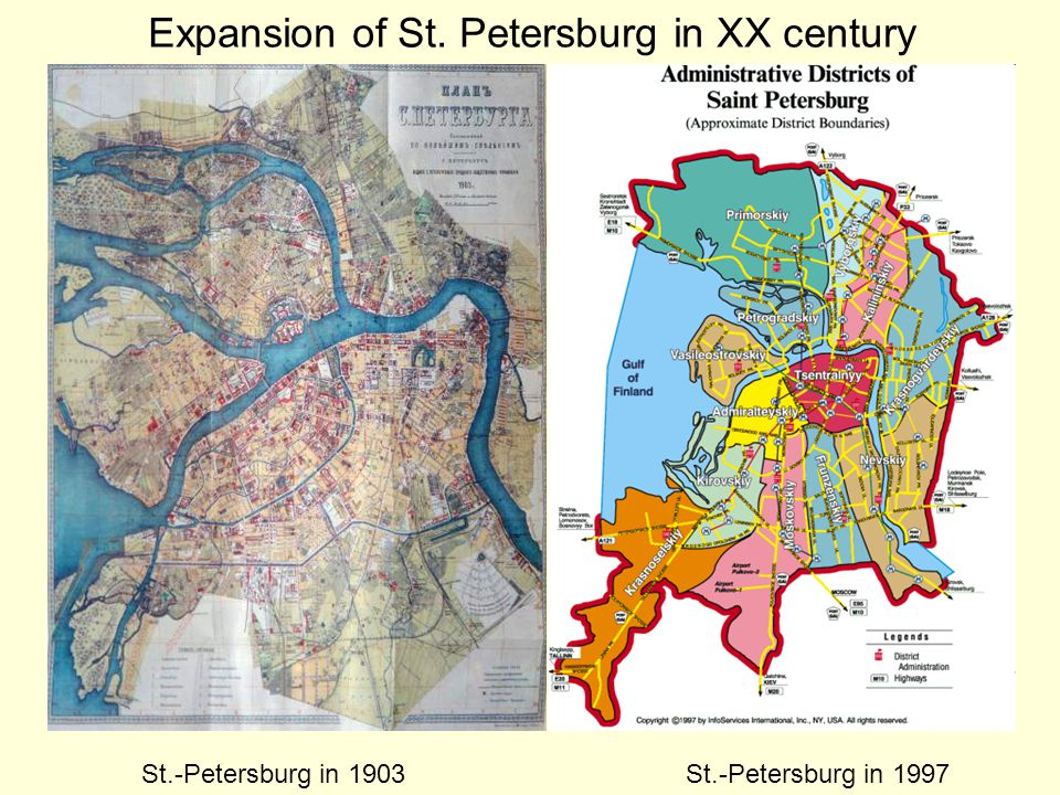 St.-Petersburg in 1903St.-Petersburg in 1997 Expansion of St. Petersburg in XX century